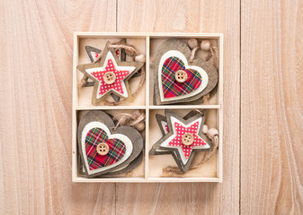 Christmas decoration red, white, gingham, stripes fabric stars a