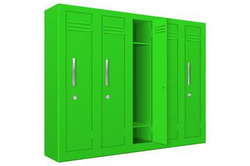 Green school lockers with open door