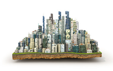 Concept of eco city. Modern city with skyscrapers on the patch o