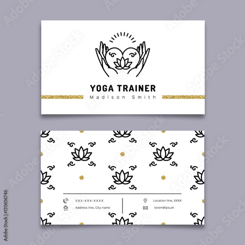 Vector yoga trainer business card template yoga outline icon and vector yoga trainer business card template yoga outline icon and thin line art pictogram reheart Choice Image