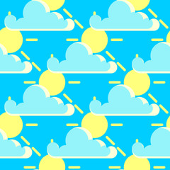 Vector clouds and the sun good weather seamless pattern