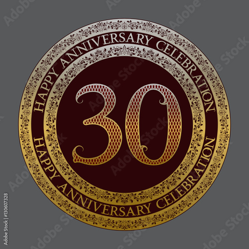 "30 Year Anniversary Symbol: ""Thirtieth Happy Anniversary Celebration Logo Symbol"
