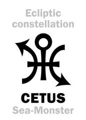 Astrology Alphabet: sign of CETUS (The Sea-Monster), constellation of Ecliptic (between Aquarius, Pisces and Eridanus). Hieroglyphics character sign (original single symbol).