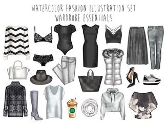 Watercolor digital illustration - watercolor fashion clip art set - Wardrobe essentials - Woman Apparel - Flat fashion sketch
