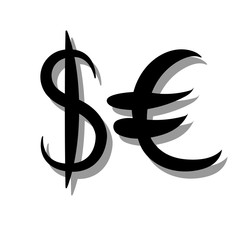 Black set of main currency signs. Signs of dollar and euro on white background with shadow. Vector illustration