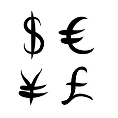 Black set of main currency signs. Signs of dollar and yen, euro and pound on white background. Vector illustration