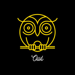 bstract yellow line round owl icon on black background. Vector illustration.