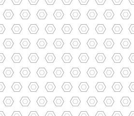 Vector seamless pattern, black linear hexagons on white backdrop. Subtle monochrome geometric texture, thin lines. Modern minimalist background. Design for prints, decoration, digital, web, textile