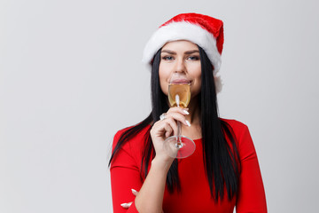 Girl drinking champagne from glass