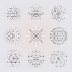 Sacred geometry vector design elements.