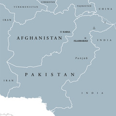 Afghanistan and Pakistan political map with capitals Kabul and Islamabad, national borders and neighbor countries, located in Asia. Gray illustration with English labeling on white background. Vector.