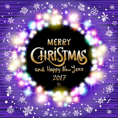 vector Merry Christmas and Happy New Year 2017. Glowing Christmas wreath made of led lights on the violet wooden background. Christmas lights background.