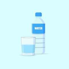 Bottle and glass vector icon.
