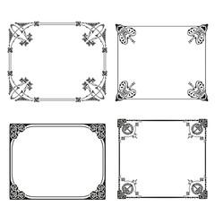 Vector square frame labels Set ornamental vintage decoration