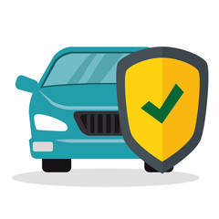 car with shield insurance vector illustration design