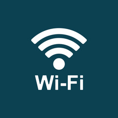 wi-fi point icon on blue background