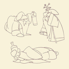 Line drawing vector illustration of a Drunk Cartoon Russian Santa, holding a bottle