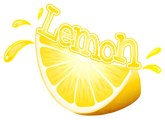 Font design for word lemon with fresh slice of lemon