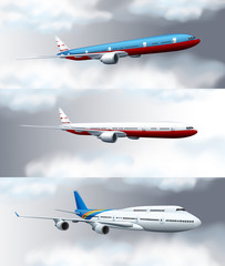 Three scenes with jet planes flying in sky