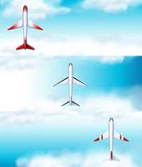 Three scenes of airplane flying at daytime