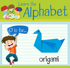 Flashcard letter O is for origami