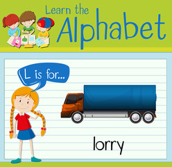 Flashcard letter L is for lorry