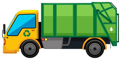 Rubbish truck on white background