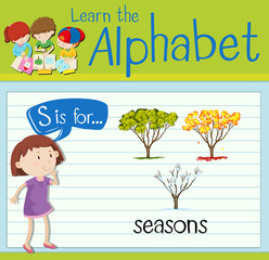 Flashcard letter S is for seasons