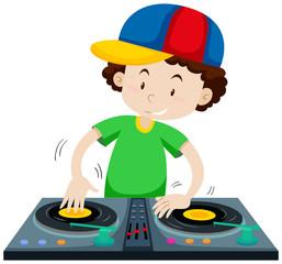 DJ playing music from discs jockey machine