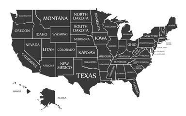 USA Map labelled black