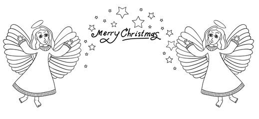 Christmas frame with angals.