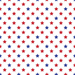 Seamless military or july 4th wallpaper. Seamfree Americana patriot background. Red, white and blue stars.
