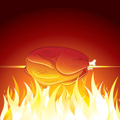 Fried Chicken Preparing on Hot Flame. Vector Image