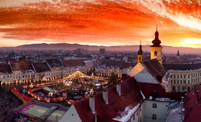 Sibiu Christmas Market at sunset in Transylvania, Romania, 2016.