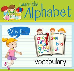 Flashcard letter V is for vocabulary