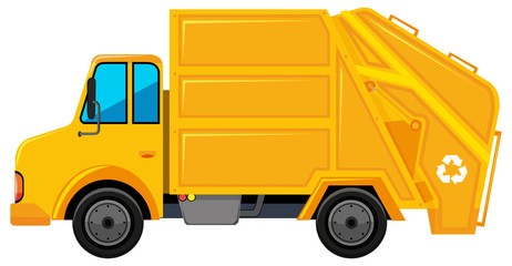 Rubbish truck in yellow color