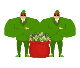 Santa elf and red bag full money. Claus bodyguards. Christmas gu