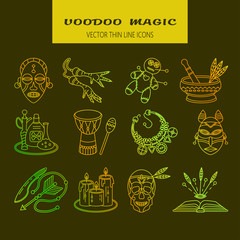 Voodoo African and American magic vector line icons.