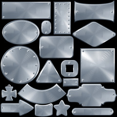 Set of Metallic Plates, Signs, Buckles and Objects