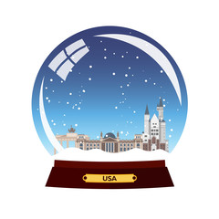 Snow globe city. Germany, Berlin in Snow Globe. Winter travel vector illustration.