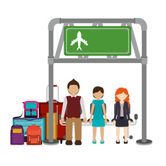 Passenger and baggage icon. Airport travel trip and tourism theme. Isolated design. Vector illustration