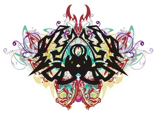 Grunge dragon butterfly. Tribal awful peaked dragon butterfly formed by colorful floral splashes and the heads of horses