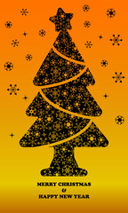 Black pine tree with beautiful snowflake icon vector on Orange background