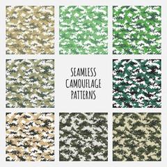 Modern vector fashion trendy camo pattern set