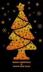 Orange pine tree with beautiful snowflake icon vector on black background
