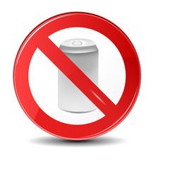 Soda can no trashing vector icon. Prohibition sign icon