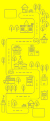 Simple line urban town map icon on yellow background