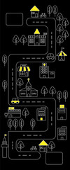 Simple line urban town map icon with yellow color on black background