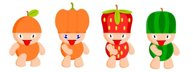 Various Cartoon Fruits. Colorful fruit.