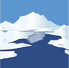 Winter Landscape with Mountain and Ice float on Ocean Icon Symbol Design. Vector illustration isolated on blue background.